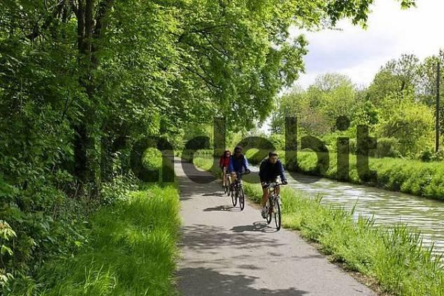 people biking along channel near Leobersdorf Lower Austria Austria