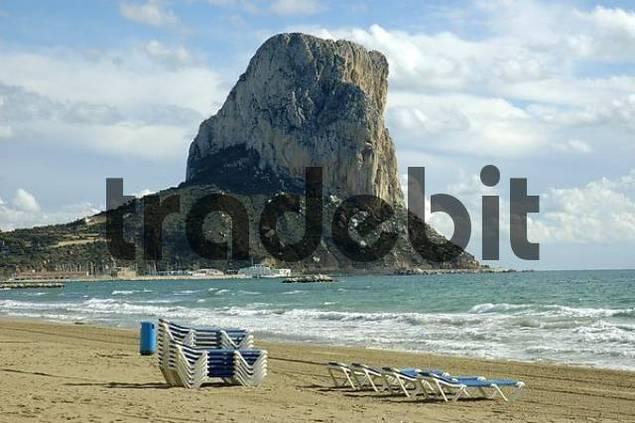 empty deck chairs at the beach of Calpe, Costa Blanca, Spain, Tourism, Landmark, beach