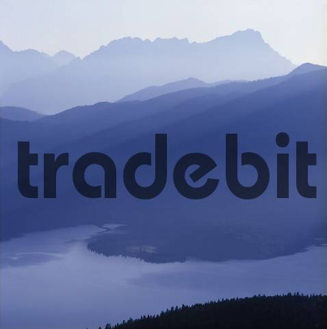 Walchensee lake Zugspitze mountain Bavaria Germany