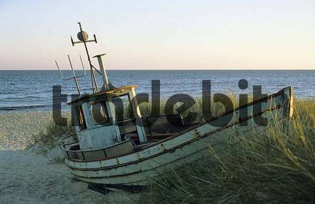 Old fishing boat on the beach, Bornholm, Denmark