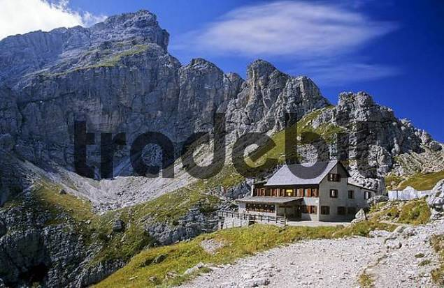 Mountain hut at Monte Civetta in the Dolomite Montains, Italy
