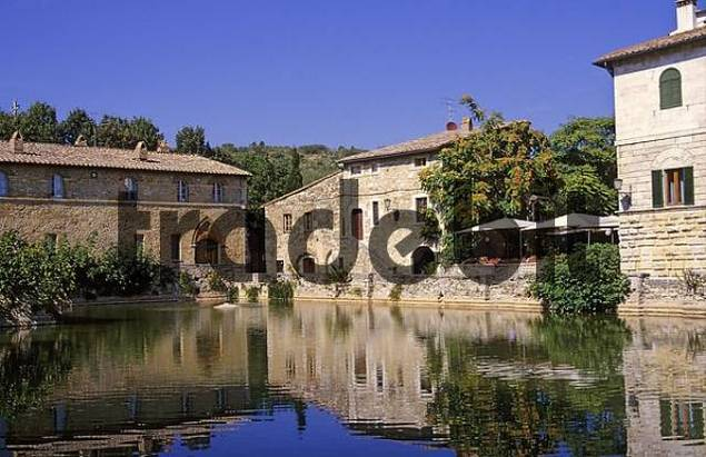 Hot springs of Bagno Vignoni Tuscany Italy - Download Architecture