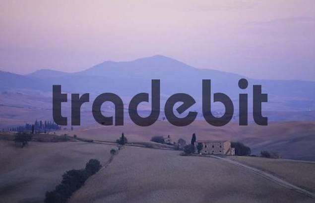 Typical landscape of Crete at dusk Tuscany Italy