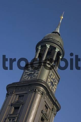 Tower of St Michaelis church at Hamburg Germany