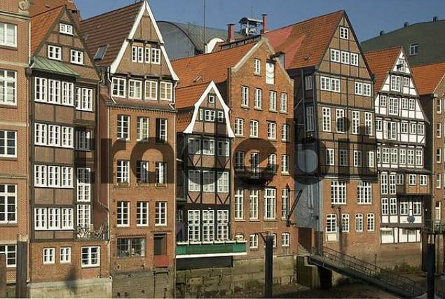 Historic houses at Nikolaifleet at Hamburg Germany