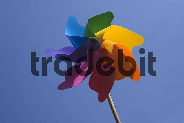Colorful wind wheel in a blue sky