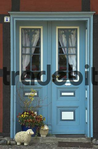Colored entrance door at a typical house at Wustrow Fischland Germany