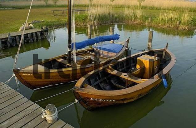 zwei klassische segelboote aus holz liegen im hafen von althagen be. Black Bedroom Furniture Sets. Home Design Ideas