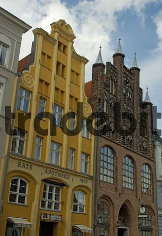 Historical houses at the city center of Stralsund Germany