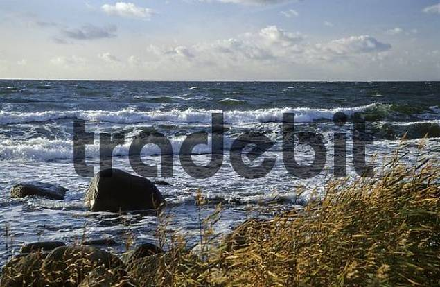 Surf at the west coast of Bornholm, Denmark