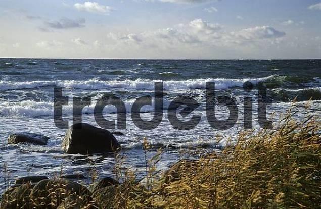 Surf at the west coast of Bornholm, Denmark
