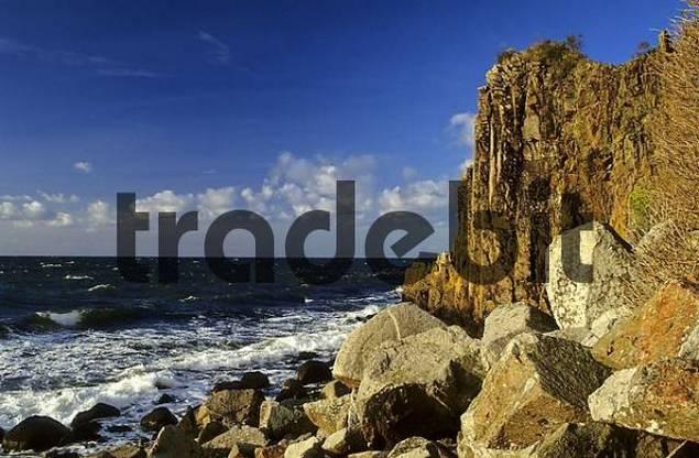 Rock coast at Jons Kapel, Bornholm, Denmark