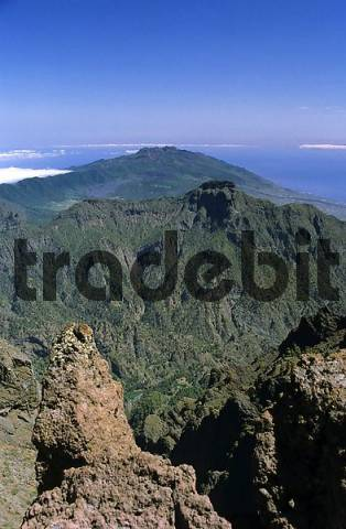 View from summit of Roque de los Muchachos over the south of La Palma, Canary Islands, Spain