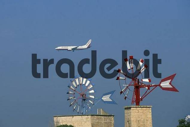 Mallorca Sant Jordi windmills and airplane Air Berlin