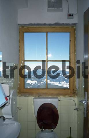Restroom with a great view at a ski lodge at Salzburger Land Austria