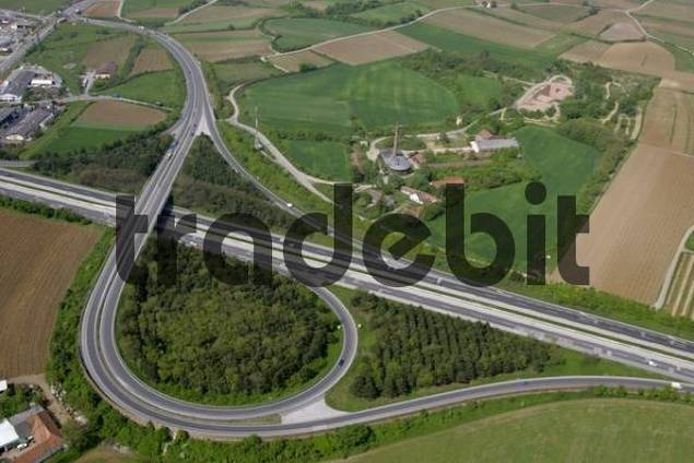aerial view of the highway descent of Leobersdorf Lower Austria