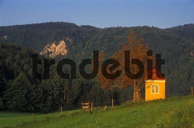 a small chapel at sunrise near the town Köflach Styria Austria