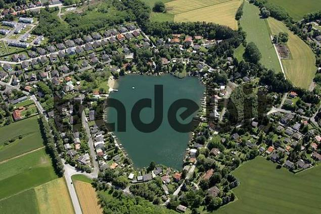 aerial view of the village Zillingdorfer Bergwerk and the Steinbrunner lake Lower Asutria and Burgenland Austria