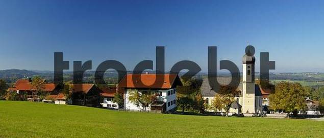 view of the church and the village of Niklasreith in Bavaria Germany