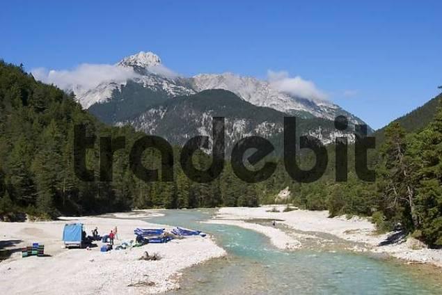 river Isar near Scharnitz in Tyrol - Austria