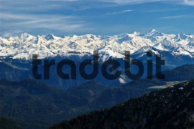 View from Auerspitz onto Hohe Tauern, European Alps