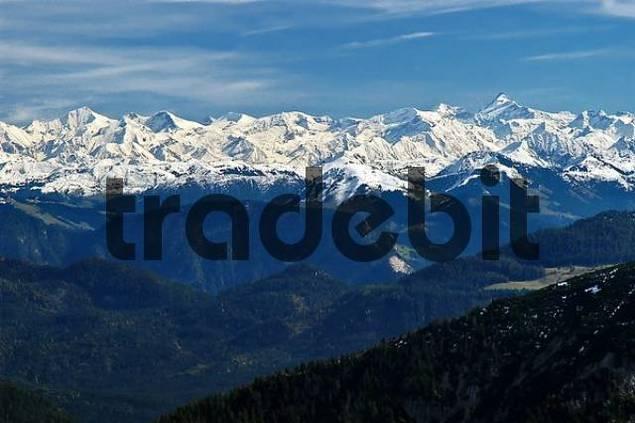 View from Auerspitz onto Hohe Tauern, European Alps
