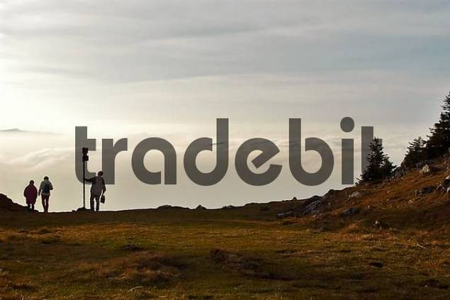mountain hiker in front of clouds, Breitenstein, Bavaria, Germany