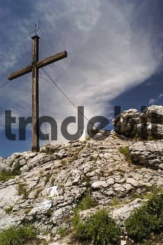 cross at the peak of Spitzstein, Bavaria, Germany