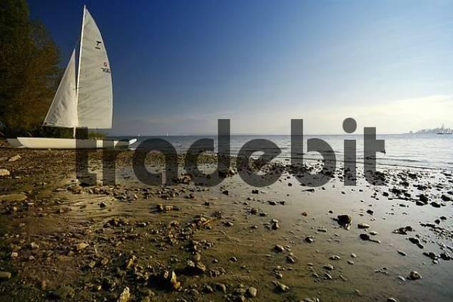 catamaran at the lake chiemsee beach, Bavaria, Germany