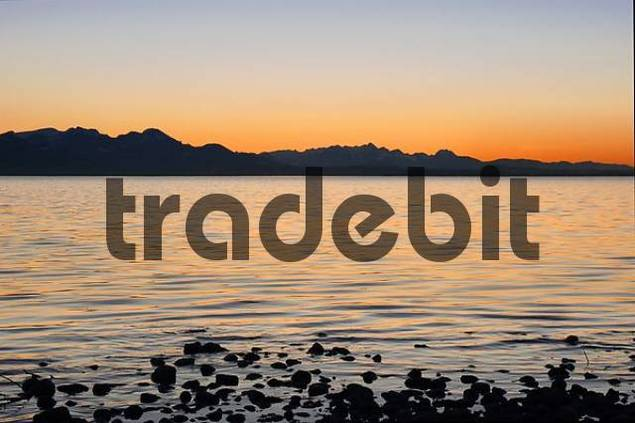 mountain range at sunset, lake Chiemsee, Bavaria, Germany