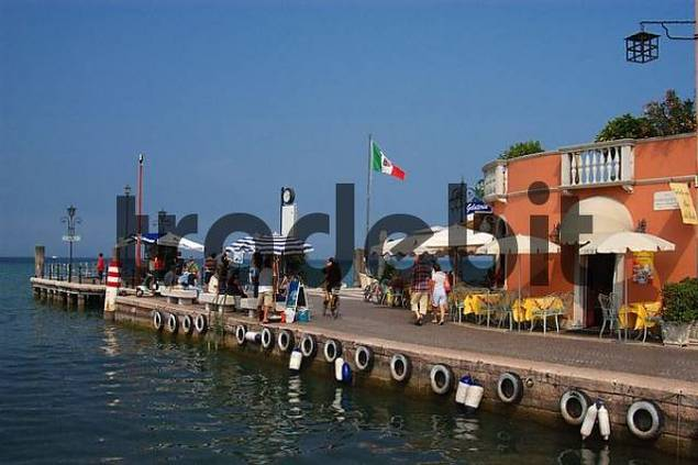 beachside cae in the harbour of Lazise, Lake Garda, Italy
