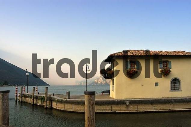 toll-house in the harbour of Torbole at Lake Garda, Italy