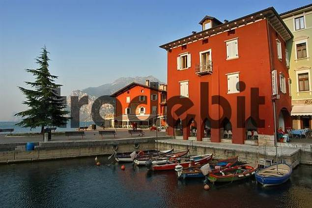 pier in the harbour of Torbole at Lake Garda, Italy