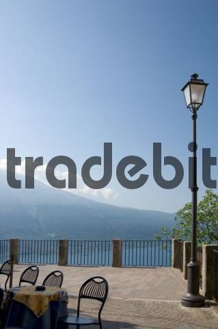 terrace of a restaurant high above the lake, Pieve, Lake Garda, Italy