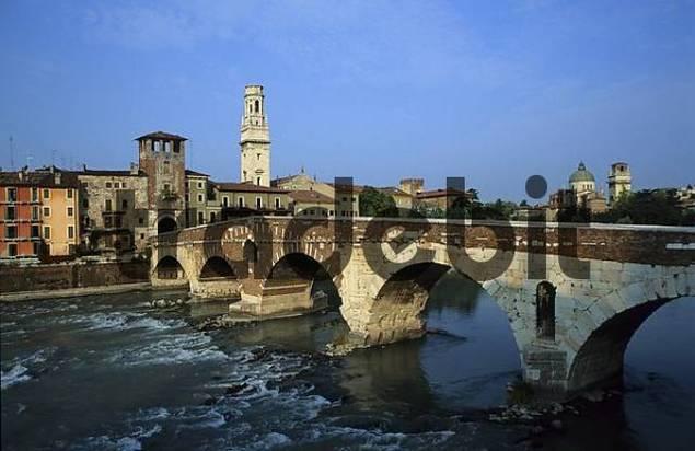 Ponte Pietra on the Adige River Cathedral Verona Veneto Italy