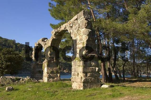 Phaselis near Kemer south of Antalya Turkey ancient city with excavation aqueduct