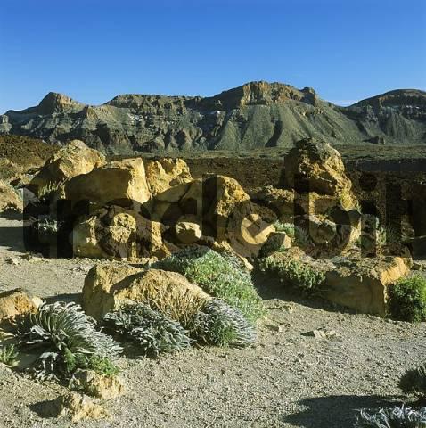 Tenerife Canaries Canary Islands Spain Parque Nacional de Las Canadas del Teide rocks catapulted from the Teide