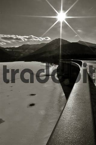 hand rail, Sylvensteinspeichersee, Upper Bavaria, Bavaria, Germany, black and white