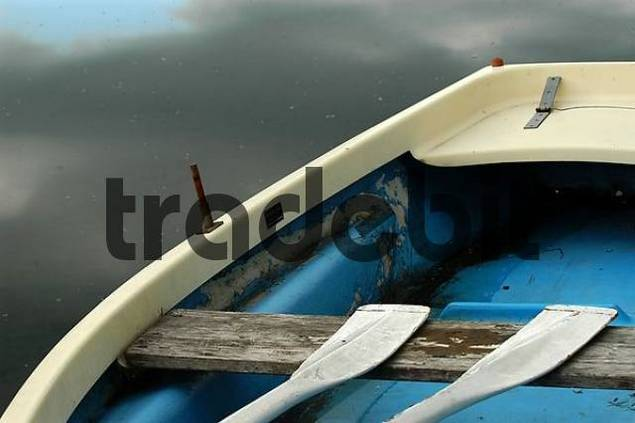 blue-white rowboat, partial view, Bavaria, Germany