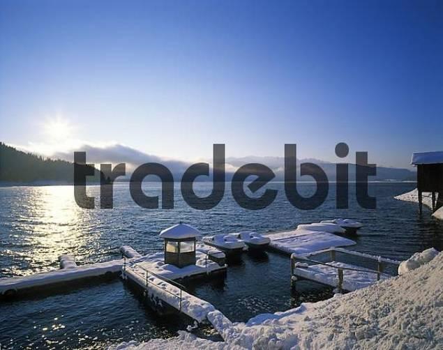 winter morning at Walchensee lake Bavaria Germany
