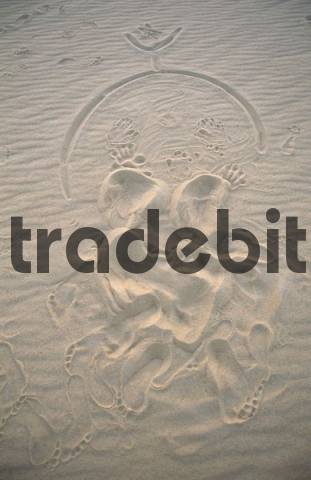 body print of a praying muslim towards Mekka, Libya