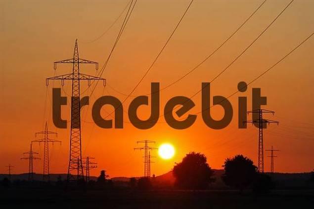 power poles at sunset, Upper Bavaria, Bavaria, Germany