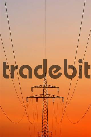 power pole in the afterglow, Upper Bavaria, Bavaria, Germany