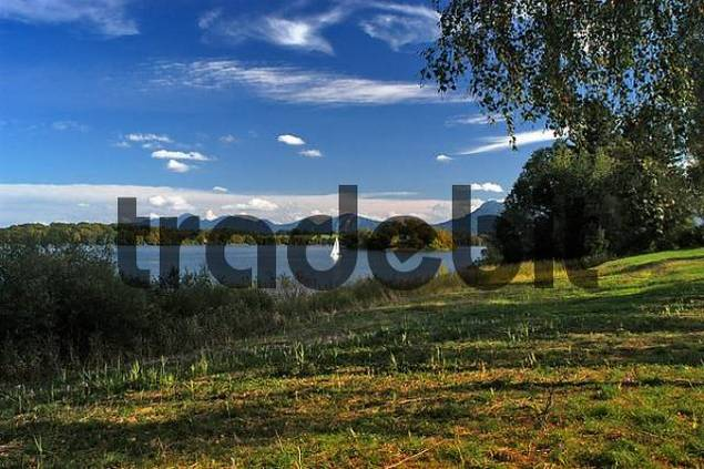 view onto Staffelsee and the Bavarian Alps, Upper Bavaria, Bavaria, Germany