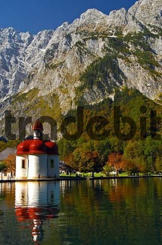 St. Bartholomä and Watzmann Mountain, Königssee, Upper Bavaria, Bavaria, Germany