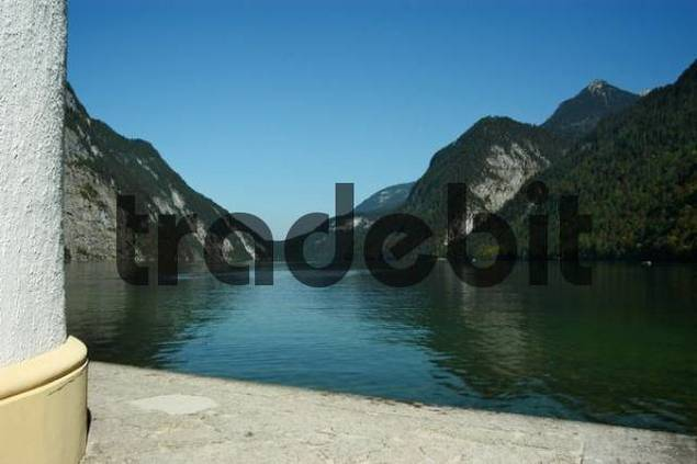 view from the chapel in St. Bartholomä onto Königssee, Upper Bavaria, Bavaria, Germany