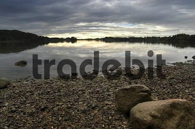 Seehamer See under angry sky, Upper Bavaria, Bavaria, Germany