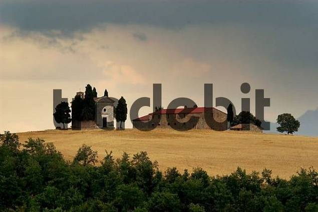 farm with chapel and cypresses, Crete, Tuscany, Italy