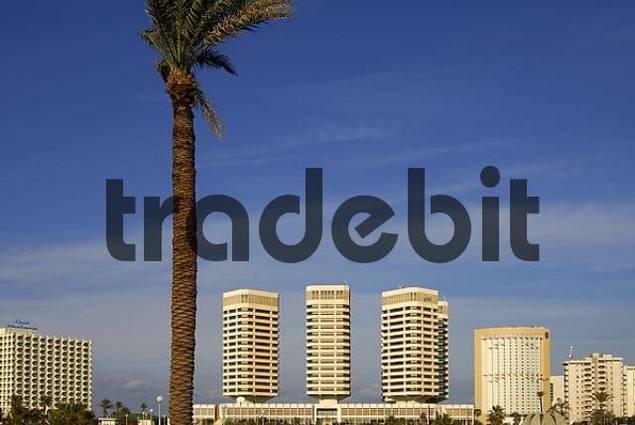 Tripoli Libya f.l.t.r. Hotel Bab Al Bahr Dhat Al Imad building Corinthia Bab Africa Hotel