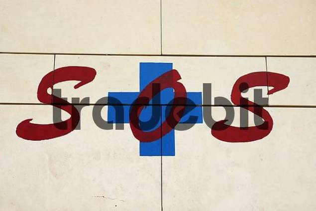 SOS sign at the wall of a house, Benidorm, Costa Blanca, Spain